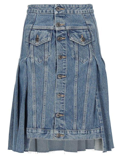 Denim Asymmetrical Hem Skirt