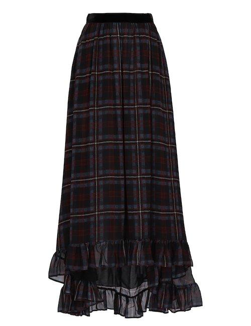Tartan Asymmetric Skirt
