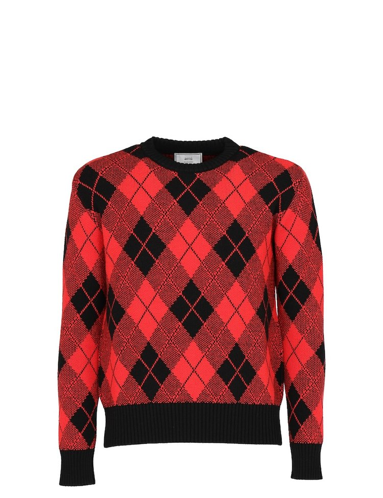 Argyle Jacquard Crewneck Sweater