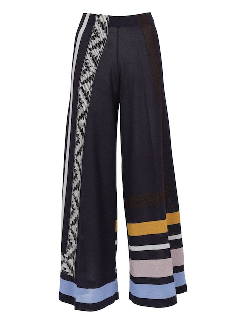 Patterned Wide Leg Pants