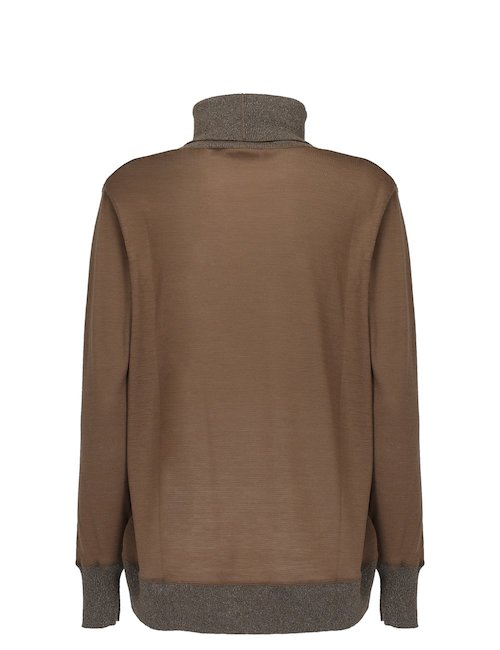 Merino Wool and Silk Turtleneck Sweater