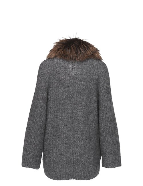 Cardigan With Fox Fur Collar