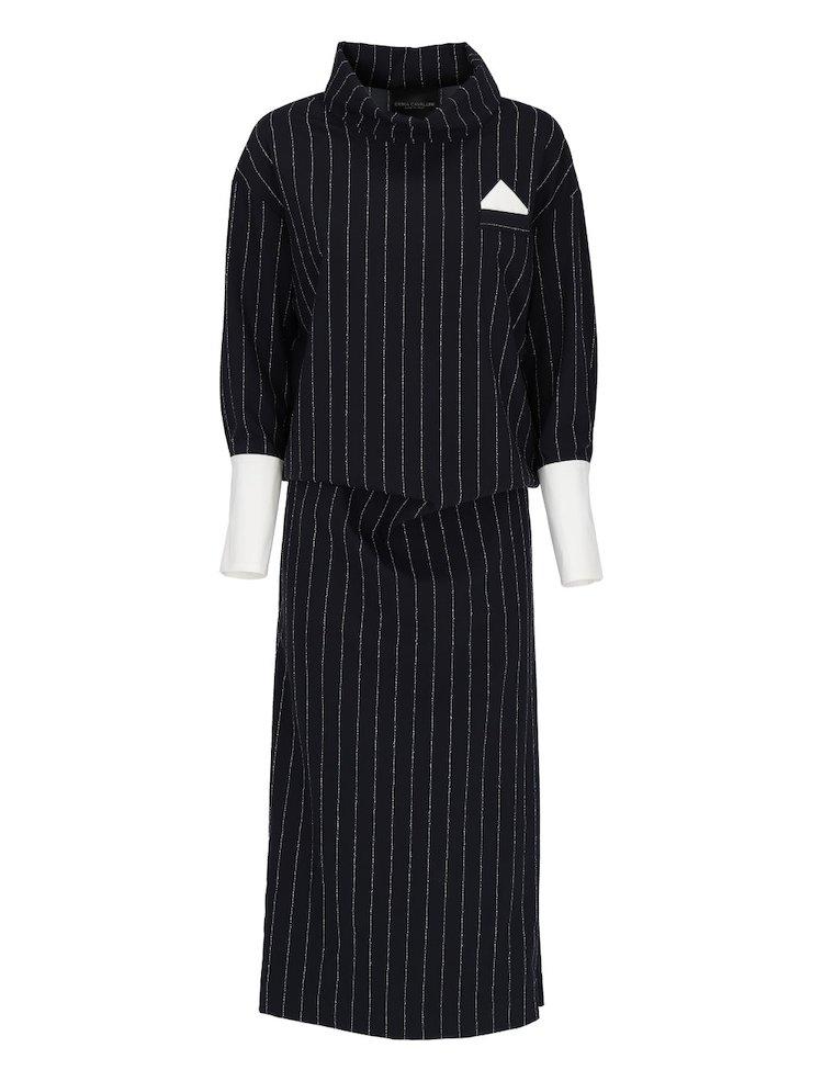 Pinstripe Long Dress