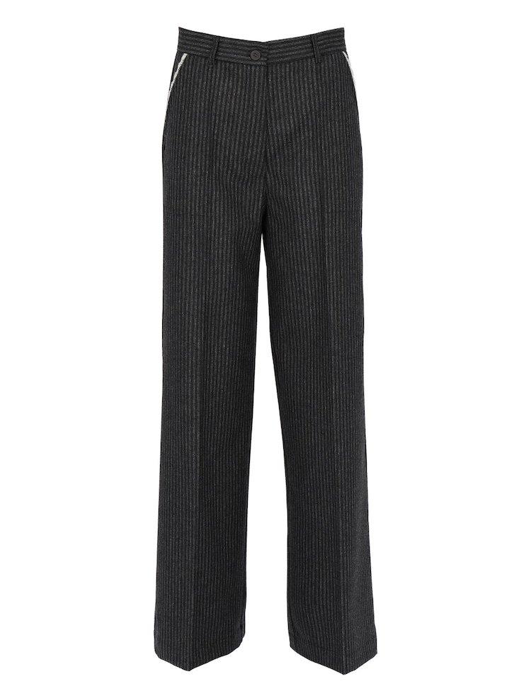 Virgin Wool Pinstripe Pants