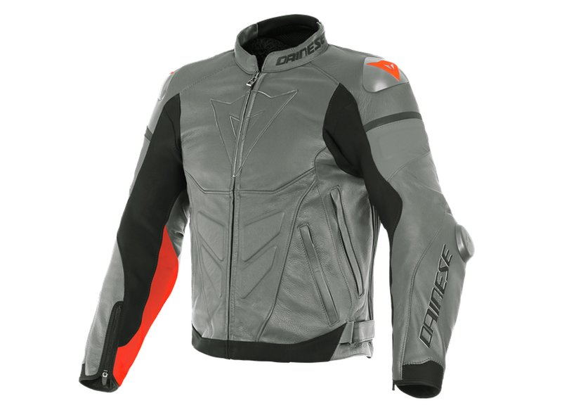 Dainese Super Race Jacket Charcoal Grey/Fluo Red