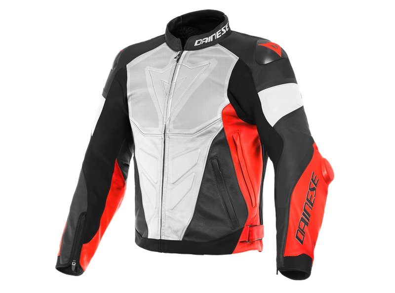 Veste Dainese Super Race Cuir Perf. Rouge Fluo - Red