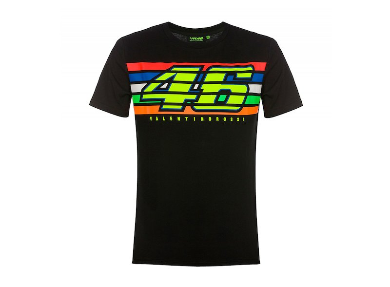 Camiseta negra Rossi 46 stripes - White