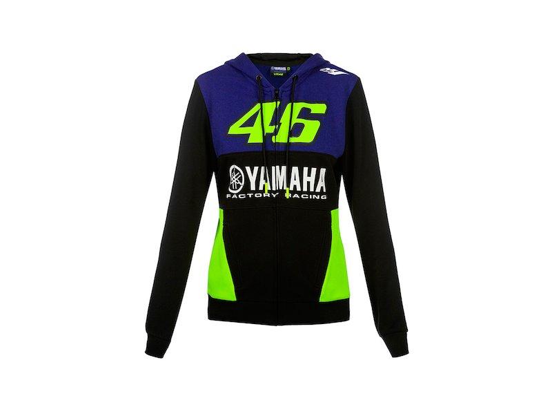 VALENTINO ROSSI Sweat /à Capuche Zip Femme VR46 Yamaha Factory M1 Racing Officiel MotoGP