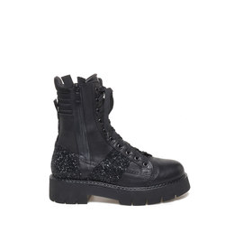 Amtrac<br />Calfskin army boots with glitter details