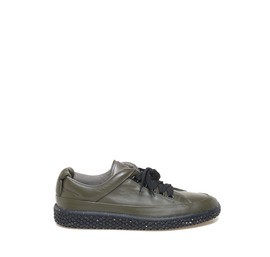 Woobie<br />Military-green leather sneaker, flecked sole