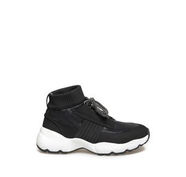 Women's black running shoes with white sole
