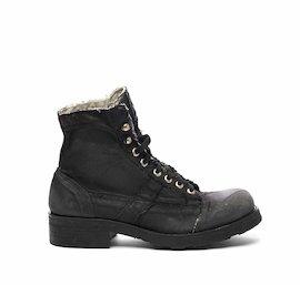 John half boot in black coated denim