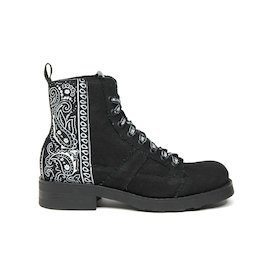 John military boot in black cotton and bandana fabric
