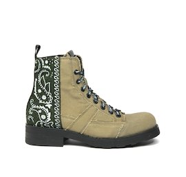 John military boot in green cotton and bandana fabric