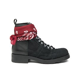 John military boot in cotton and black leather with bandana