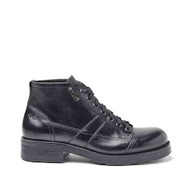 Frank black brushed leather military boots