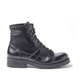 John men's black brushed leather military boots