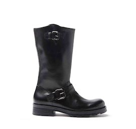 Black brushed leather biker boots with two buckles