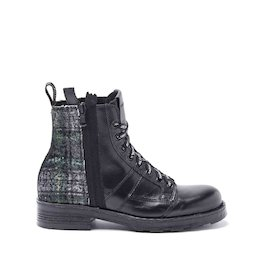 John dual-material tartan military boots with sequins