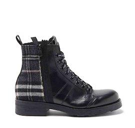 John dual-material grey tartan military boots