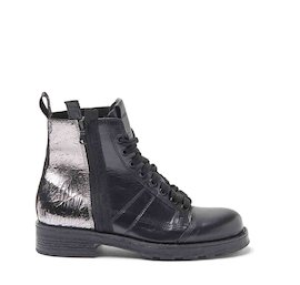 John dual-material crackle-finish leather military boots