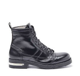 John black military boots with metal heel strip