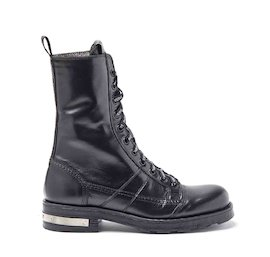 Stewart black military boots with metal heel strip