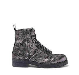 John fabric military boots with needle-punch effect