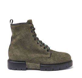 Amtrac green crust leather military boots with tartan laces