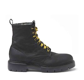 Amtrac waxed fabric military boots with a tartan lining