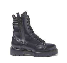 Amtrac black leather boots with coated side zip