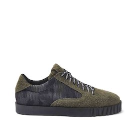 Booter green crust leather and camouflage mesh shoes