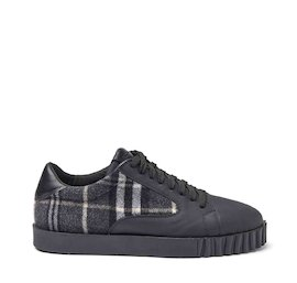 Booter rubberised eco-leather and tartan fabric shoes