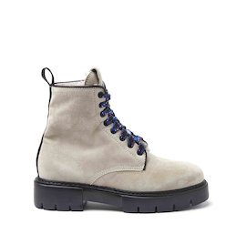 Amtrac ice-coloured crust leather military boots with a sheepskin lining