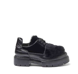 Amtrac leather and rex rabbit fur Derby shoes