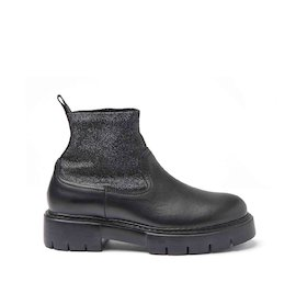Amtrac leather and stretch glitter fabric ankle boots