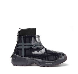 Airborne black tartan wool and TPU sneakers