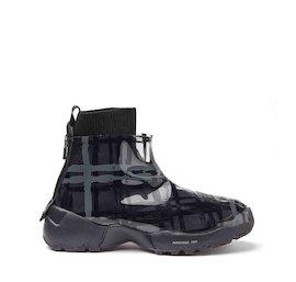 Sneaker Airborne aus Wolle und schwarzem TPU mit Schottenkaro
