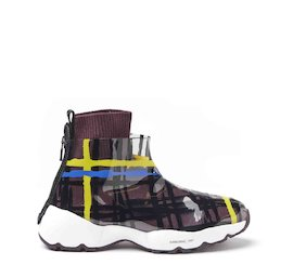 Airborne multicoloured tartan wool and TPU sneakers