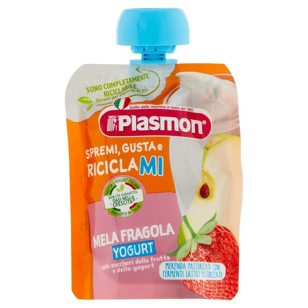 Plasmon Spremi Gusta e Riciclami Mela Fragola Yogurt 85 g
