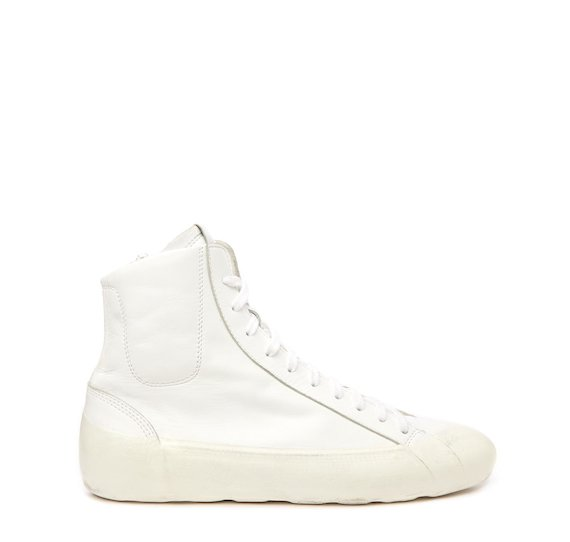 Women's white leather mid-top sneaker with coating