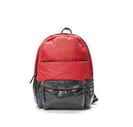 Red nylon rucksack with coating