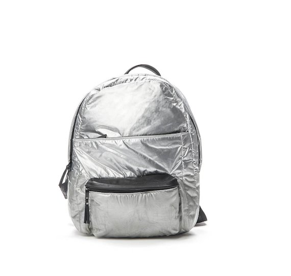 Silver nylon backpack with coating
