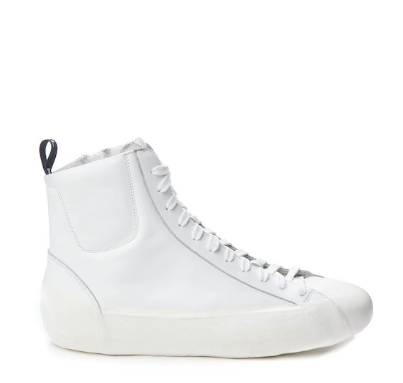 Mid-cut trainer with white coating