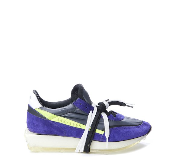 SNK-100M split grain shoe with purple nylon and lime stripe