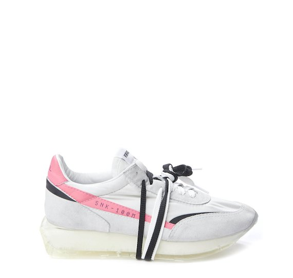 SNK-100M split grain shoe with white nylon and pink stripe