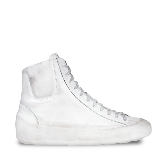 White leather mid cut trainers