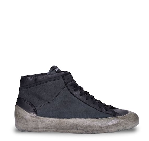Black/grey mid cut trainers in fabric and leather