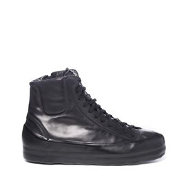 Women's black leather ankle boots with coating and high sole