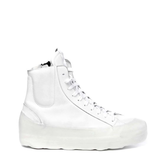 Women's all-white leather ankle boots with high sole